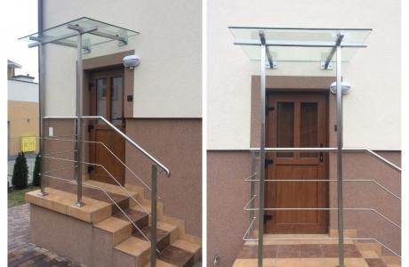 szklany daszek+balustrada nierdzewna