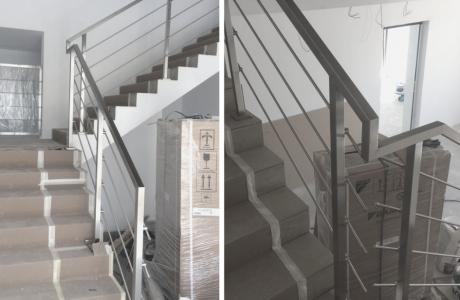 balustrada nierdzewna na klatce schodowej